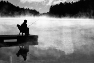 Sitting, Waiting, Fishing BW