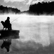 Sitting, Waiting, Fishing BW
