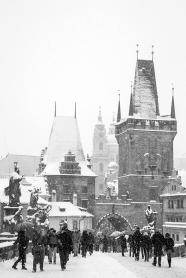 Snow in Prague BW