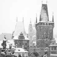 Snow in Prague BW